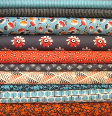 Daisy Mae red, teal and grey